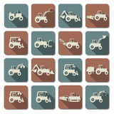 Vector Tractor Flat Icons stock illustration