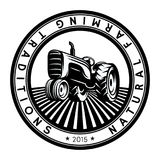 Vector tractor logo illustration. Emblem design Royalty Free Stock Images