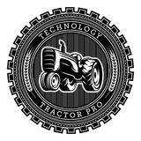 Vector tractor logo illustration. Emblem design Stock Images