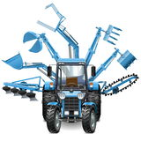 Vector Tractor Multi Equipment. On white background Stock Photos