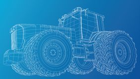 Vector tractor. Side view. Wire-frame tracing illustration of 3d. EPS 10 vector format. stock illustration