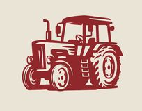 Vector Tractor symbol. Icon on beige background Royalty Free Stock Photo