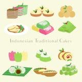 Vector tradicional indonesio de la historieta de las tortas y de los bocados stock de ilustración