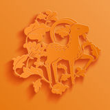 Vector traditional chinese goat paper cutting Stock Photos