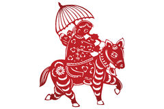 Vector of Traditional Chinese Paper-cut Royalty Free Stock Photo