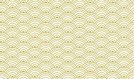 Vector Traditional Japanese Golden Seamless Pattern, Gold and White Background Template. stock illustration