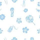 Vector traditional Japanese symbols seamless pattern Royalty Free Stock Image