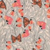 Vector traditional seamless pattern with Monarch butterflies. Floral elements and spring flowers, vector illustration Stock Image