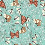 Vector traditional seamless pattern with Monarch butterflies. Floral elements and spring flowers, vector illustration Royalty Free Stock Photography