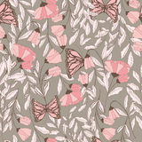 Vector traditional seamless pattern with Monarch butterflies, floral elements and spring flowers. Vector illustration Stock Image