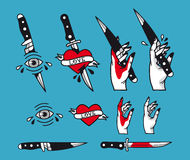 Vector traditional tattoo style set - hearts, knife, eye, hand, ribbons. Vintage ink old school tattooing Royalty Free Stock Photos