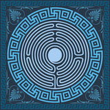Vector Traditional vintage blue Greek ornament (Meander) Stock Image