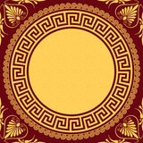 Vector Traditional vintage gold Greek ornament (Meander) Stock Photo
