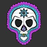 Vector Traditioneel Gekleurd Mexicaans Sugar Skull Stock Illustratie
