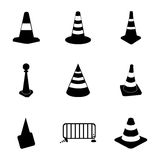 Vector traffic cone icons set Royalty Free Stock Photos
