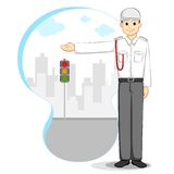 Vector Traffic Police. Vector illustration of traffic police standing at traffic signal Stock Photography