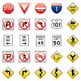 Vector Traffic Signs. Vector illustration of a collection of 25 different traffic signs Stock Images