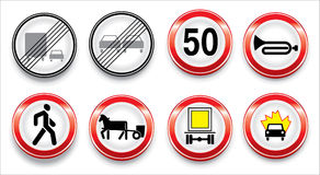 Vector traffic signs collection. Signs of the warning Stock Photos