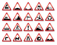 Vector traffic signs collection. Signs of the warning Royalty Free Stock Photography