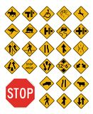 Vector traffic signs collection. On white Stock Photos