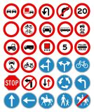 Vector traffic signs collection. On white Royalty Free Stock Image