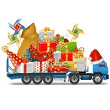 Vector Trailer with Christmas Gifts Stock Photography