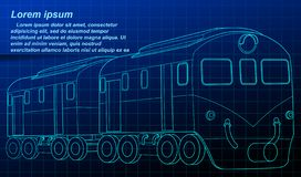 Isometric train blueprint in technology style. royalty free illustration