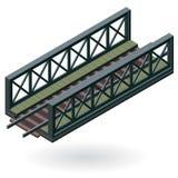 Vector train bridge, isometric 3d perspective, isolated on white background. Vector train bridge in isometric 3d perspective isolated on white background Royalty Free Stock Photo
