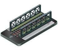 Vector train bridge, isometric perspective in mobile phone. Stock Image
