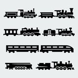 Vector trains silhouettes set Royalty Free Stock Images