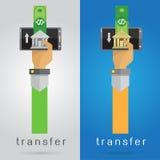 Vector transferência de dinheiro do grupo de telefone celular do braço e da mão rapidamente conveniente Foto de Stock