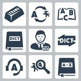 Vector translation and dictionary icons set Royalty Free Stock Images