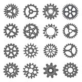 Vector transmission cog wheels and gears isolated on white background. Gear set. Gear set. Vector transmission cog wheels and gears isolated on white background Royalty Free Stock Images