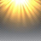 Vector transparant de gloed lichteffect van de zonlicht speciaal lens stock illustratie