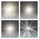 Vector transparant de gloed lichteffect van de zonlicht speciaal lens vector illustratie