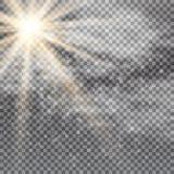 Vector transparant de gloed lichteffect van de zonlicht speciaal lens Zonflits met stralen, sneeuw, wolken en schijnwerper stock illustratie