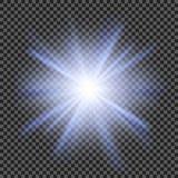 Vector transparant de gloed lichteffect van de zonlicht speciaal lens Stock Foto