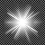 Vector transparant de gloed lichteffect van de zonlicht speciaal lens Stock Afbeeldingen