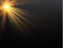 Vector transparant de gloed lichteffect van de zonlicht speciaal lens Kerstmis abstract patroon Het fonkelen magische stofdeeltje Stock Afbeelding