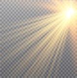 Vector transparant de gloed lichteffect van de zonlicht speciaal lens Kerstmis abstract patroon Het fonkelen magische stofdeeltje Stock Afbeeldingen
