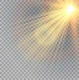 Vector transparant de gloed lichteffect van de zonlicht speciaal lens Kerstmis abstract patroon Het fonkelen magische stofdeeltje Stock Foto's