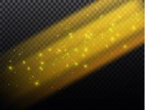 Vector transparant de gloed lichteffect van de zonlicht speciaal lens Kerstmis abstract patroon Het fonkelen magische stofdeeltje Stock Foto