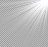 Vector transparant de gloed lichteffect van de zonlicht speciaal lens Kerstmis abstract patroon Het fonkelen magische stofdeeltje Stock Illustratie