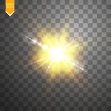 Vector transparant de gloed lichteffect van de zonlicht speciaal lens Zonflits met stralen en schijnwerper Royalty-vrije Stock Afbeeldingen