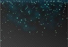 Vector transparante dalende ster die op donkere achtergrond wordt geïsoleerd Blu Royalty-vrije Stock Foto