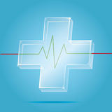 Vector: Transparency first aid icon with heart pulse graph on bl. Ue background,Health care save your life Stock Photo