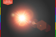 Vector transparent bright red sunlight special lens flare light effect hexagon elements. Transparency in additional format only Royalty Free Stock Photo