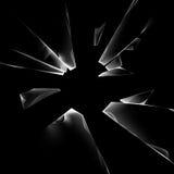 Vector Transparent Broken Shattered Crack Glass Window with Sharp Edges Close up on Dark Black Background Stock Image