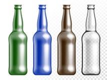Vector transparent color glass texture bottle set Stock Images