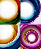 Transparent color wave lines abstract background set, glossy glass waves, vector abstract backgrounds, shiny light. Vector transparent color wave lines abstract Royalty Free Stock Images